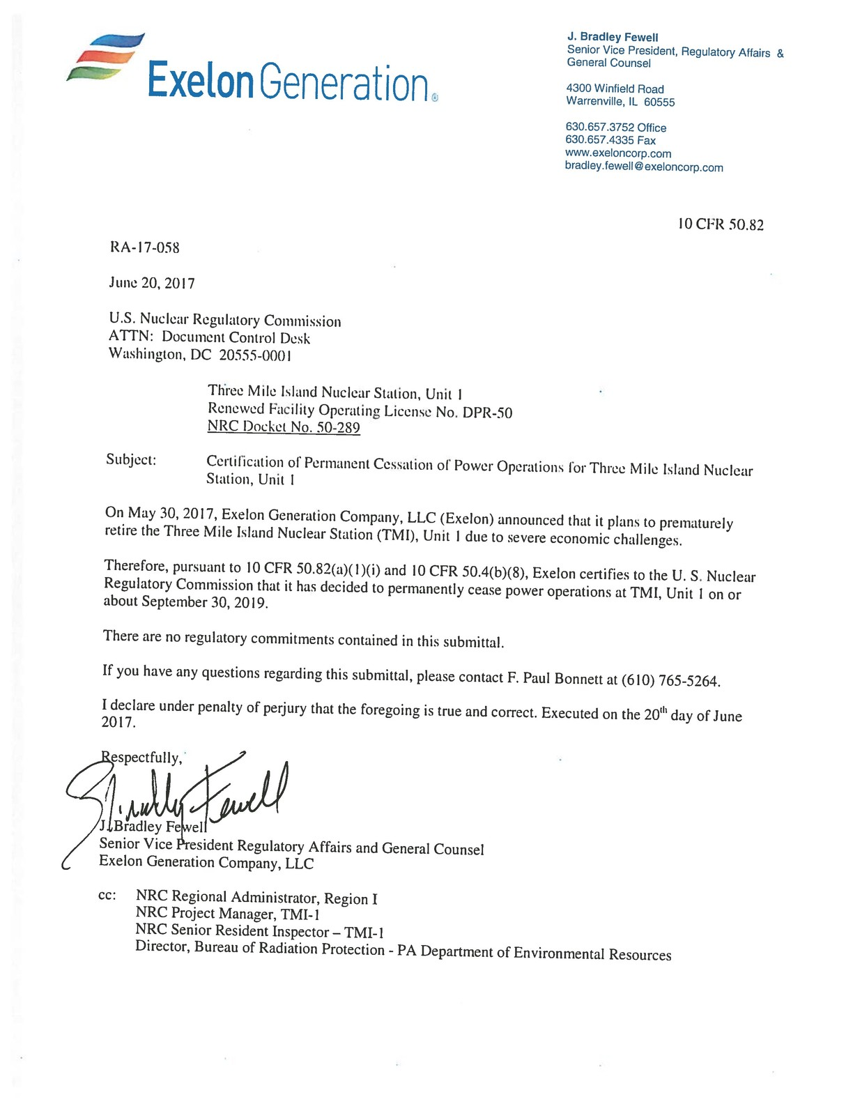 Letter from Exelon to the U.S. Nuclear Regulatory Commission on the planned closure of Three Mile Island.