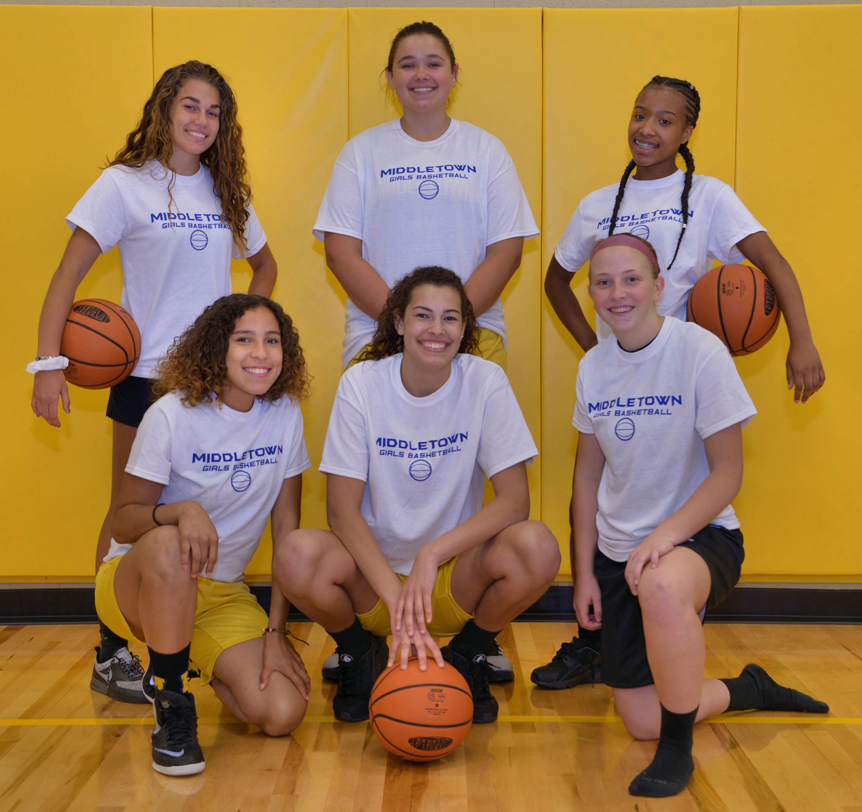 Middletown Area High School basketball players who took part in helping at the clinic included, back row, Makaila Nester, Caroline Gill and Nakia Scott; and front row, Jocelyn Koser, Jaelynn Keller and Kate Fitzpatrick.