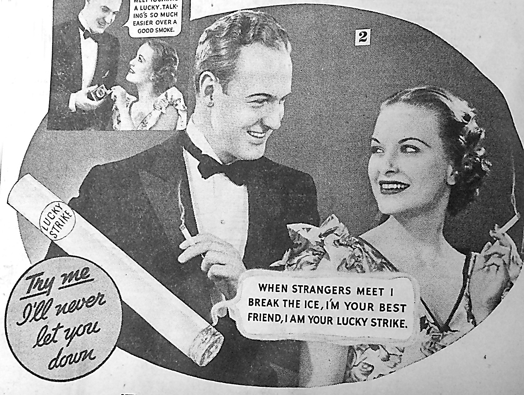 Almost all of what we would consider photographs in newspapers of the 1930s appeared in advertisements like this one for Lucky Strike cigarettes, of which a part is shown above.