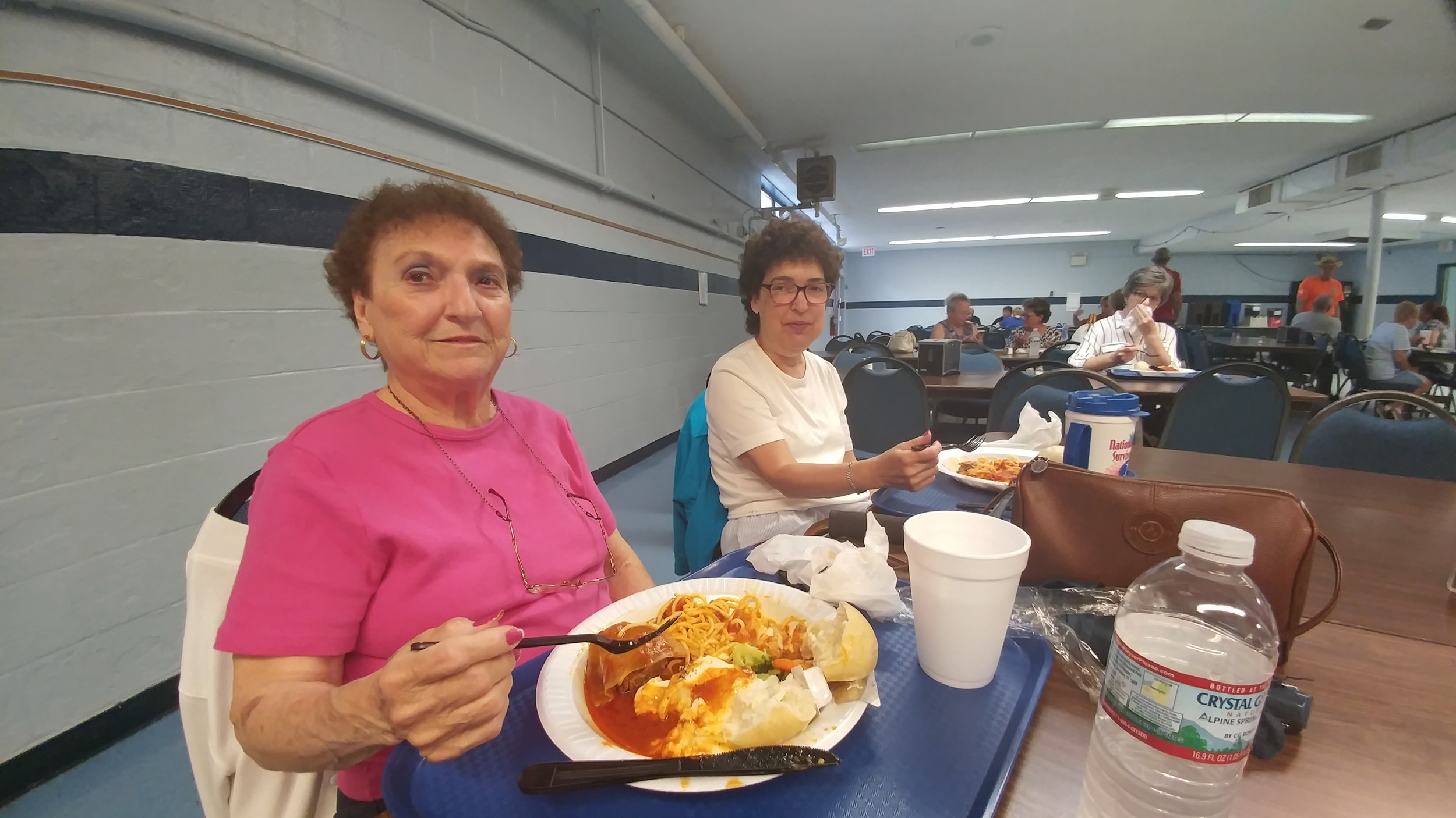 Mother and daughter Marian and Brenda Chesney enjoy an Italian dinner while at the festival.