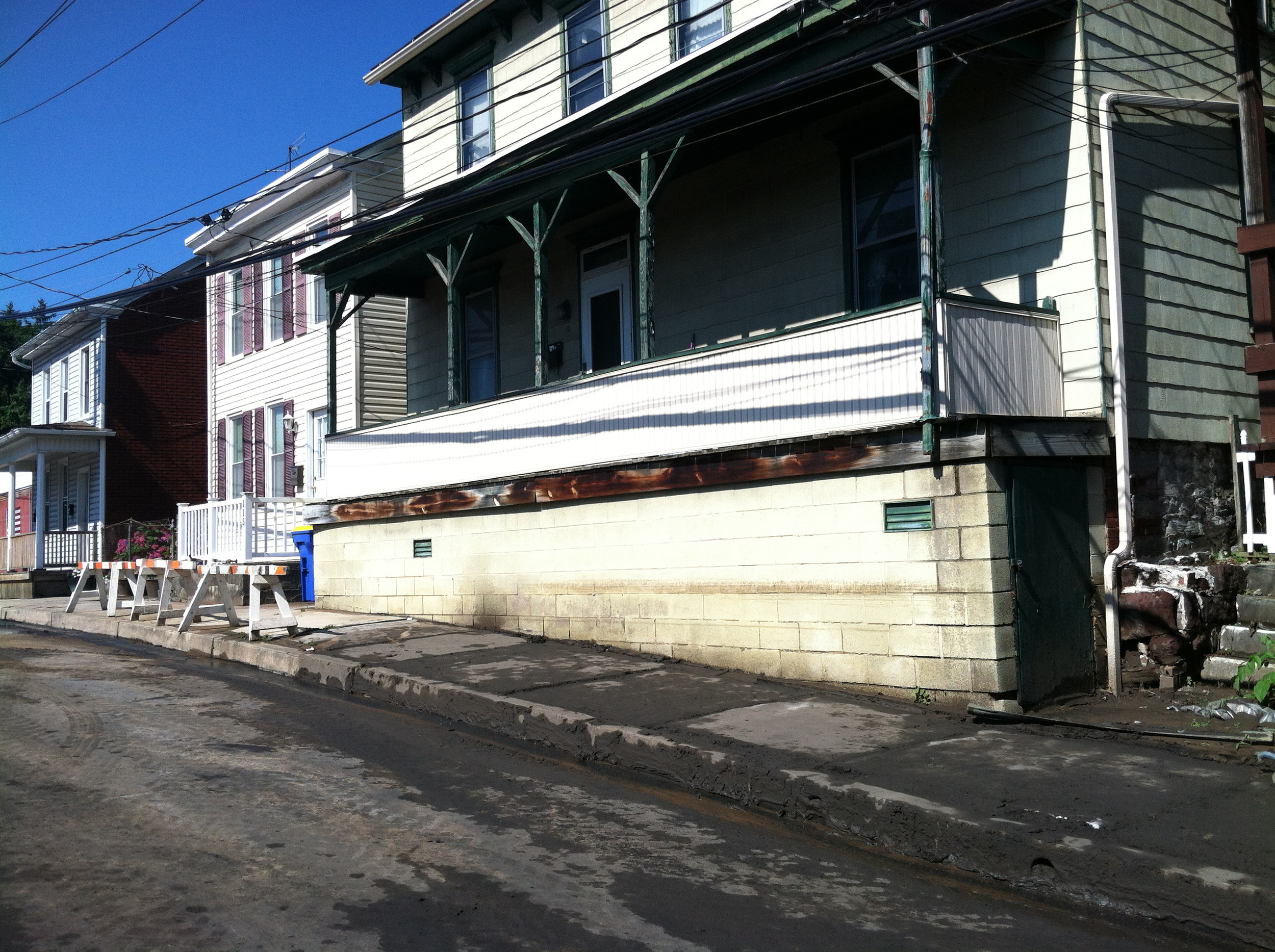 A water mark on this house shows how high the water got just south of the Wood Street underpass.