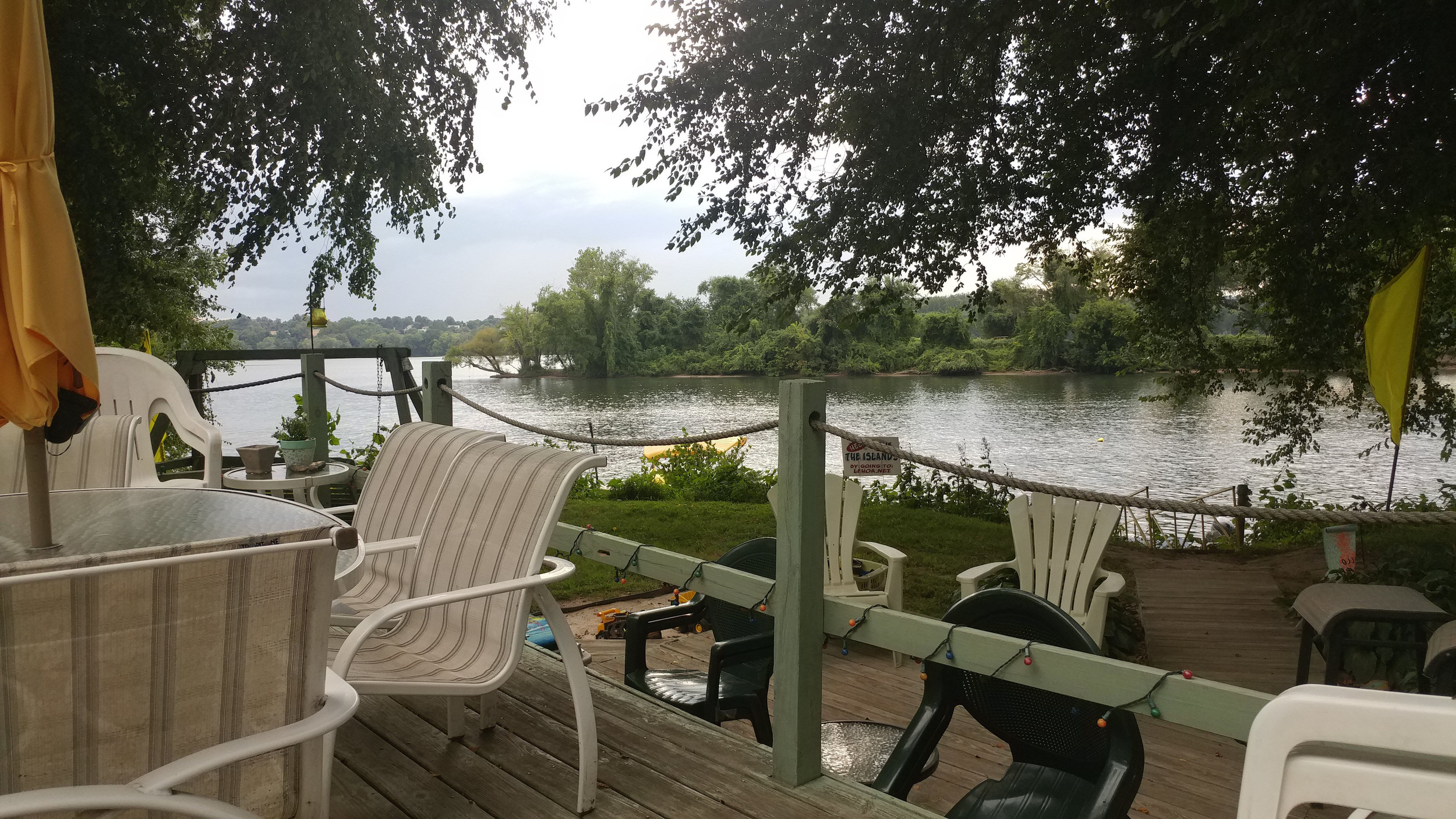 The view from the front deck of Lisa Milbrand's parents' residence on Shelly Island. Milbrand, her parents and others will have to vacate the islands by October 2019, per a decision by Londonderry Tonwship to continue to receive insurance and other financial aid.