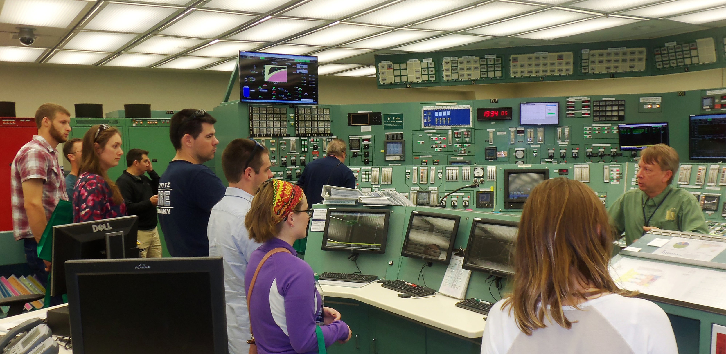 Visitors tour the Simulator Room at the Three Mile Island Training Center during the facility's Generating's Station Community Information Night held on Sept. 7.