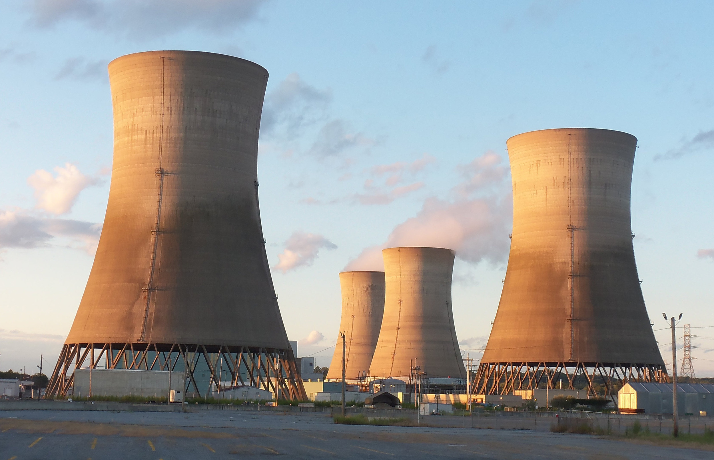 A view of Three Mile Island Generating Station's cooling towers from the island's south side. Bus tours of the island were conducted for the public during Three Mile Island Generating Station's Community Information Night on Sept. 7.
