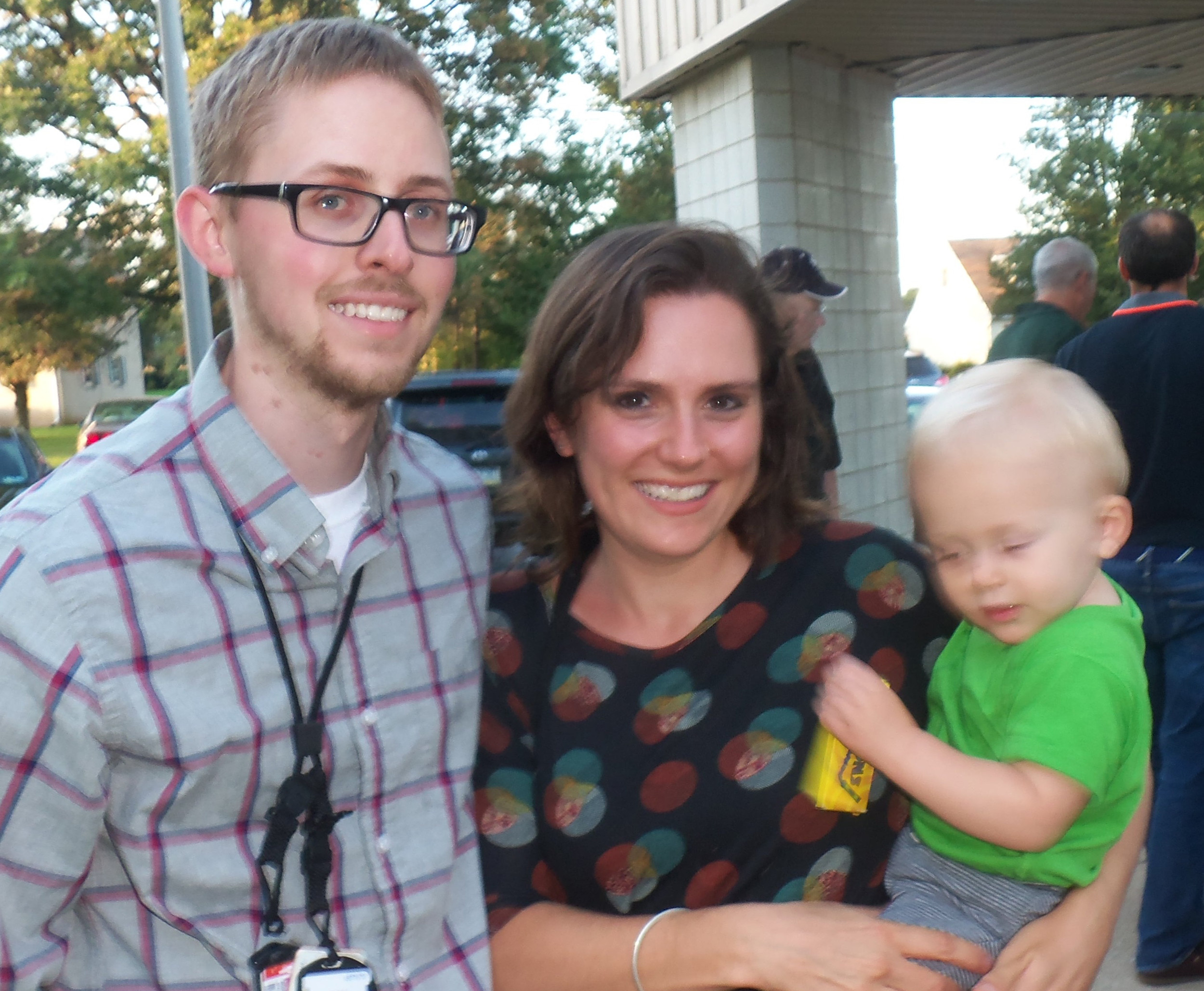 Ross Shacklett of Mount Joy visits Three Mile Island Generating Station's Community Information Night with wife Kaite and son Ryan, 14 months, on Sept. 7.