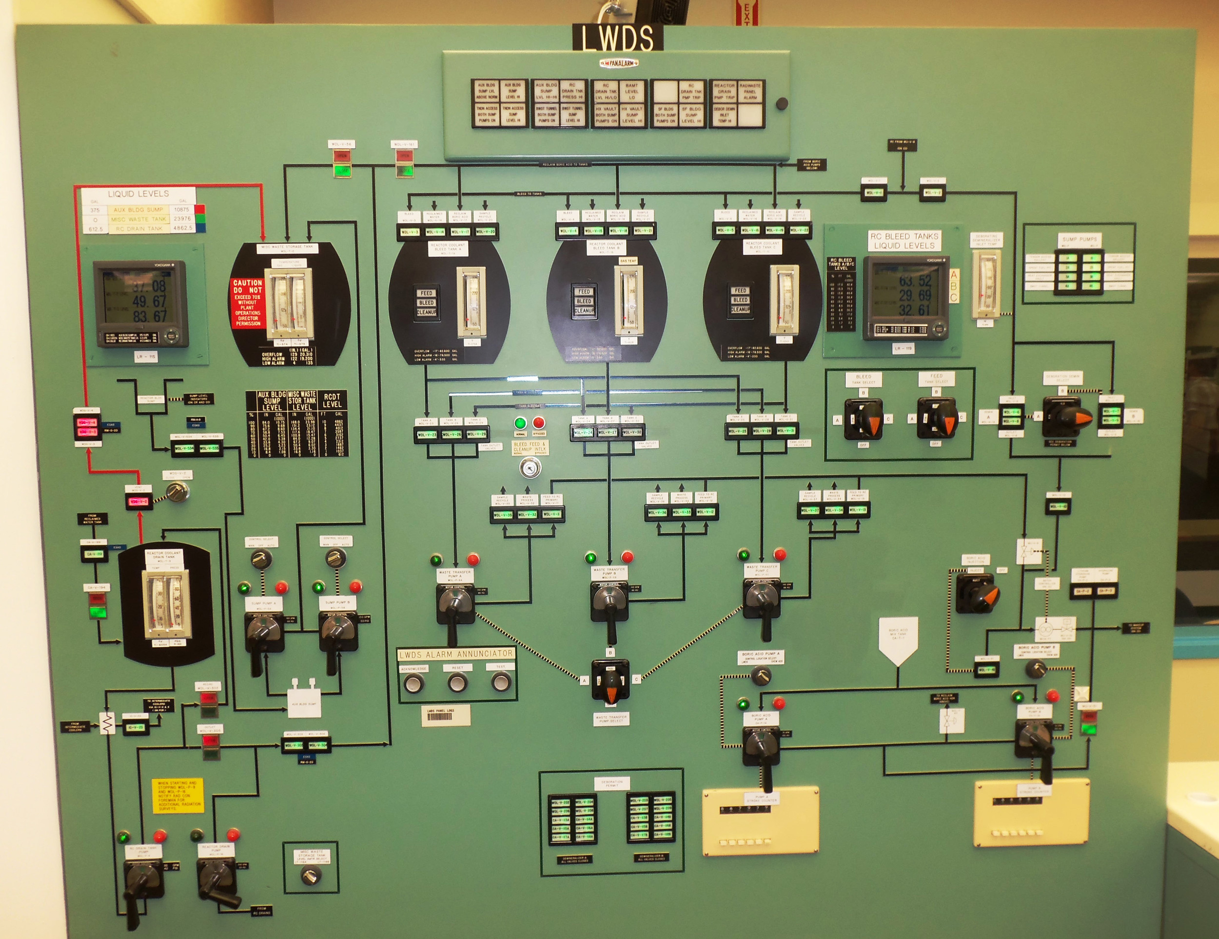 One of many simulated control panels in the Similator Room at the Three Mile Island Training Center. The facility was open for public tours during Three Mile Island Generating Station's Community Information Night on Sept. 7.