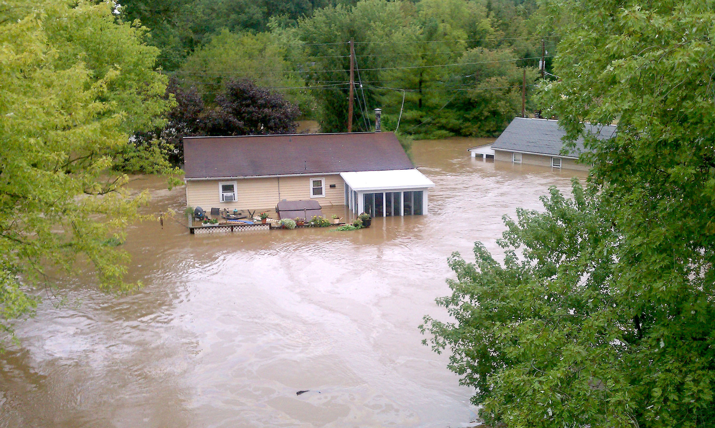 Press And Journal photo by Debra Schell: Flood waters in Middletown, Sept. 7,  2011.