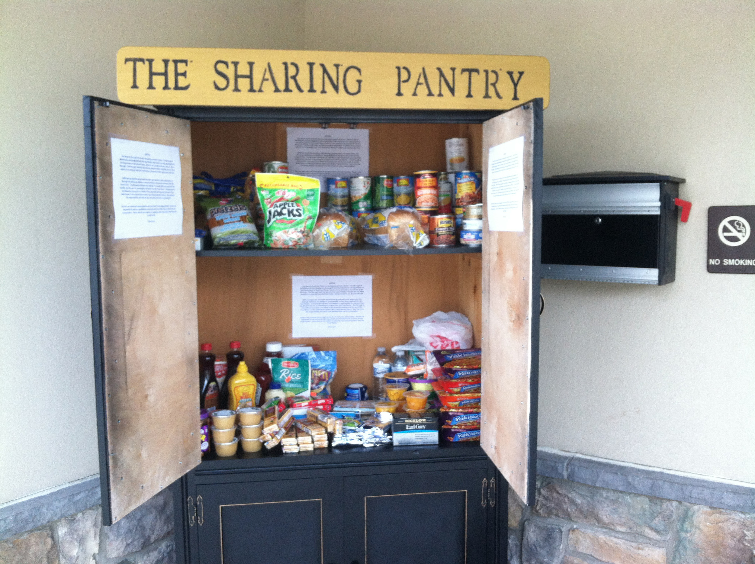 Here are the free items available to help people behind the doors of the new Little Free Sharing Pantry.
