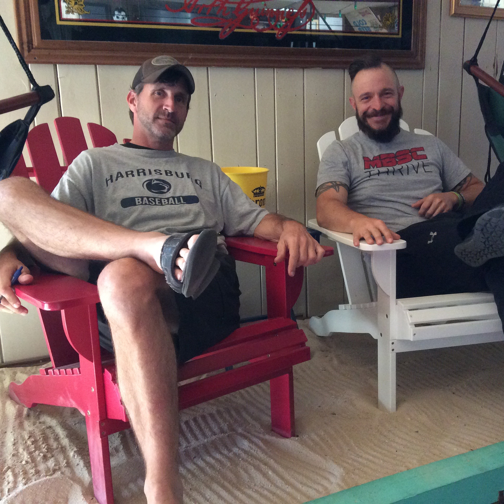 Steve Wian (left), the owner of Guido McNeal's, takes a break with his new business partner Jason Melhorn (right).