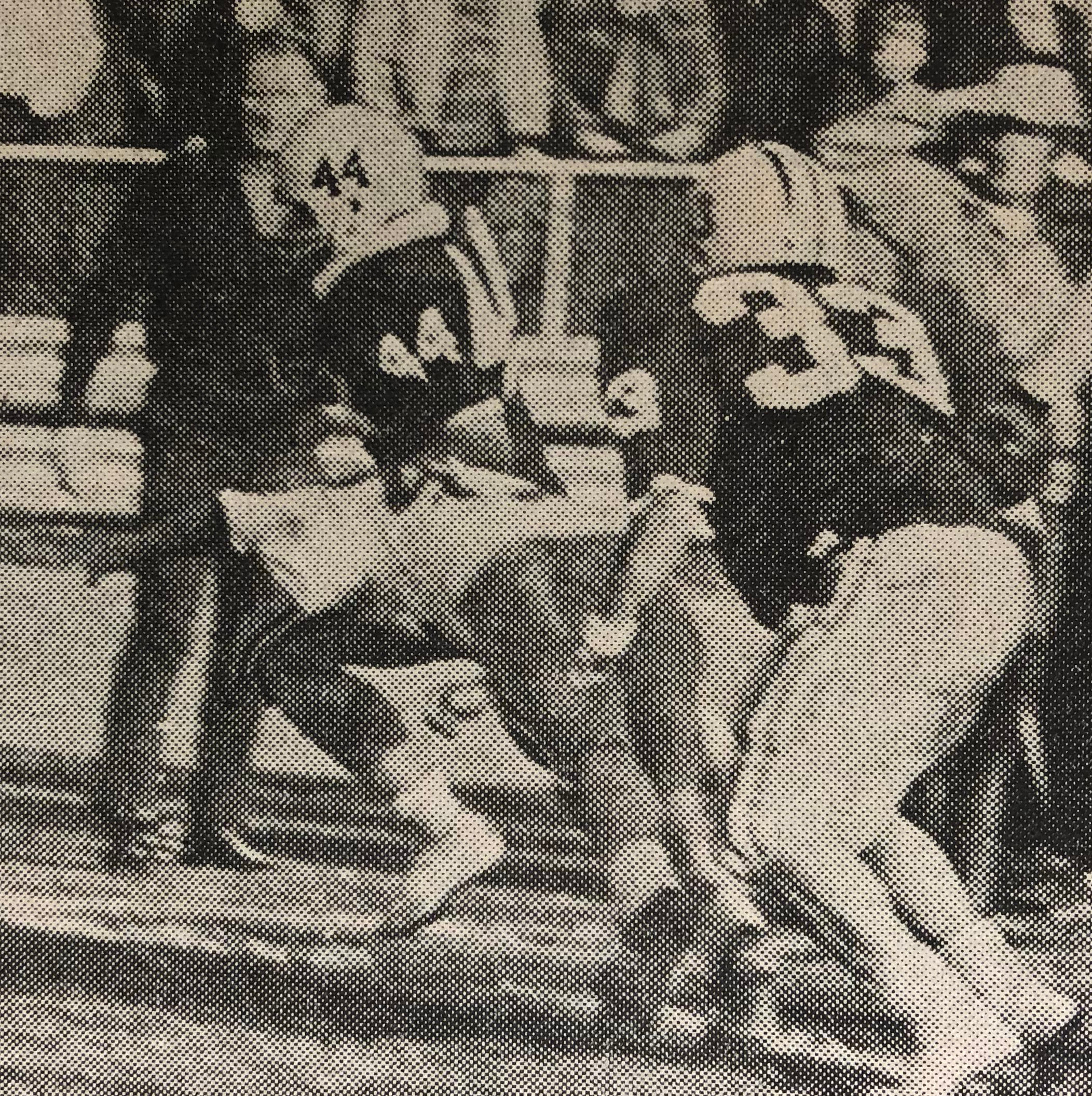 Rod Wert scampers wide to score Middletown's second touchdown against the Spartans. A Hershey defender is shown attempting a flying tackle but Wert is just steps away from the goal line. Steve Mrakovich is the other Blue Raider pictured.