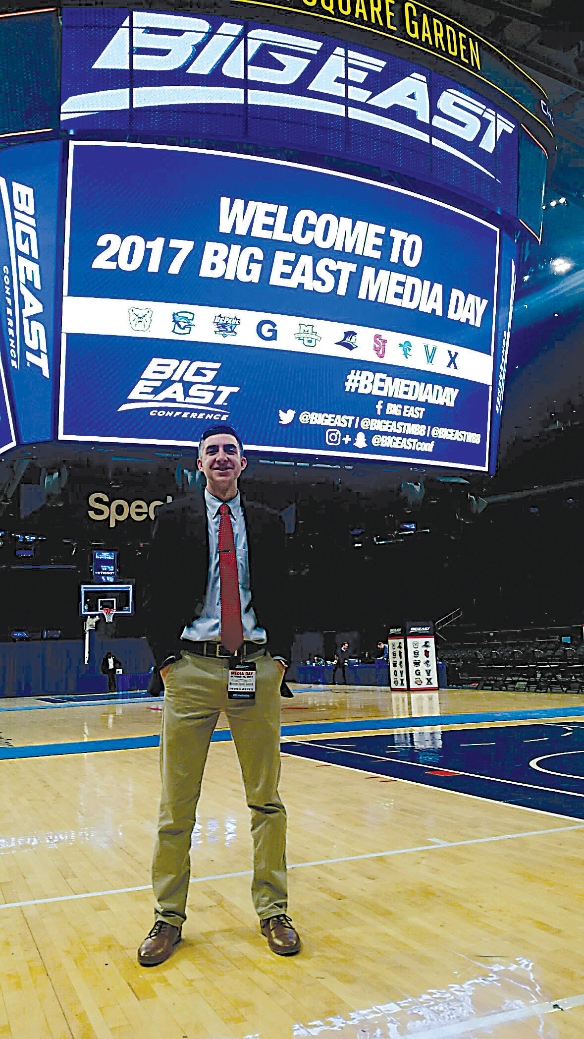 Dagen Hughes, a 2015 graduate of Middletown Area High School, attends Big East Conference basketball Media Day at Madison Square Garden.