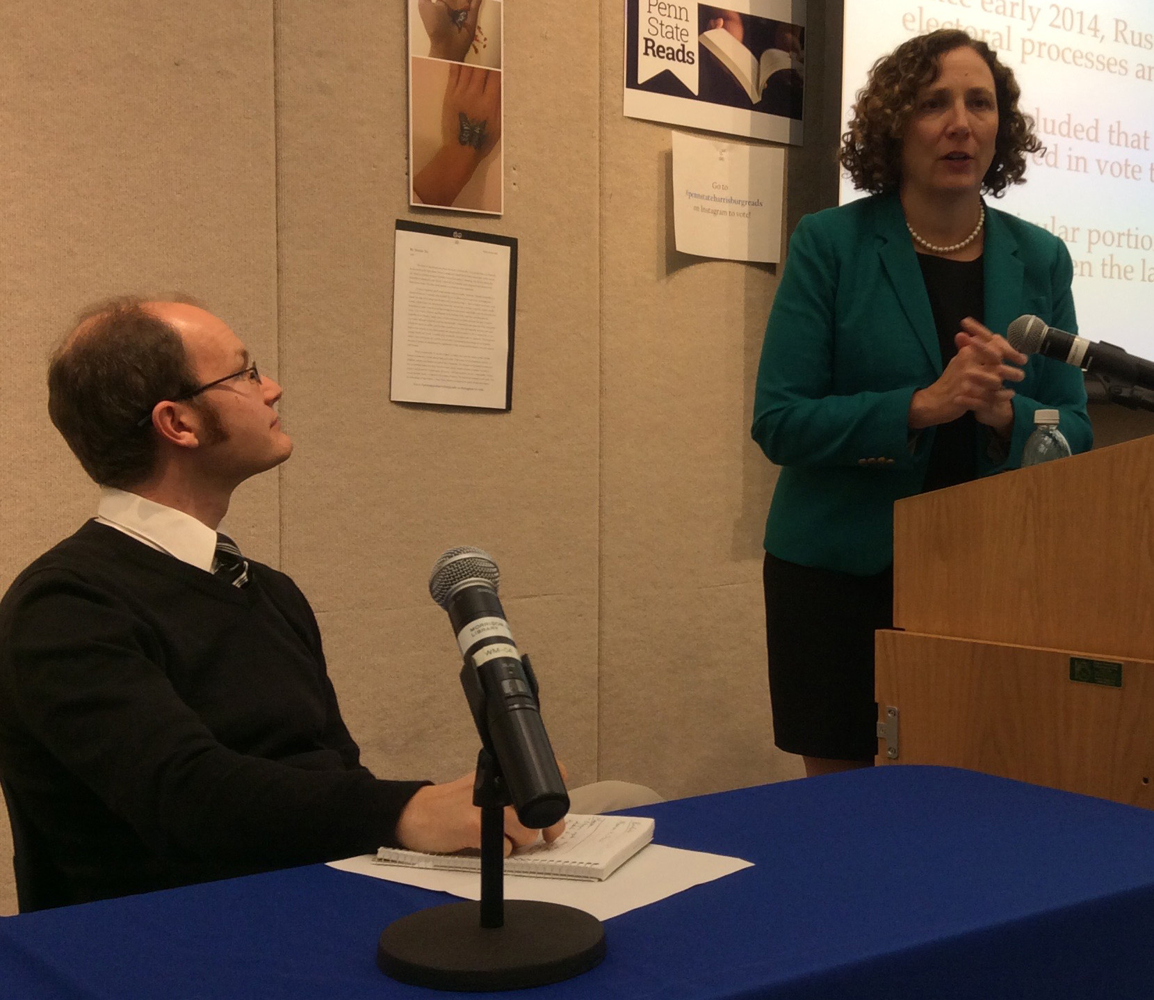 Marian Schneider (right), president of the Verified Voting Foundation, speaks during the Nov. 1 forum on election security at Penn State Harrisburg. At left is moderator Daniel Mallinson, assistant professor of public policy and administration at Penn State Harrisburg.