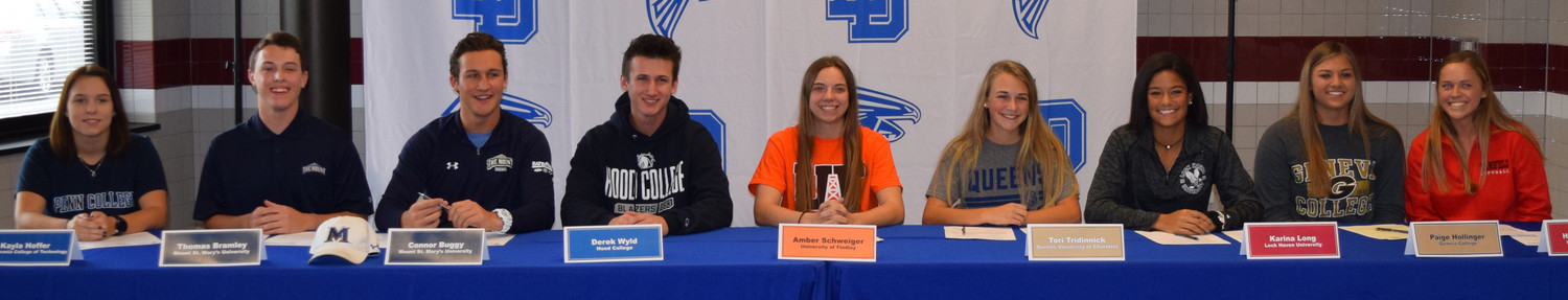 Lower Dauphin student-athletes signing their letters of intent included Kayla Hoffer, Thomas Bramley, Connor Buggy, Derek Wyld, Amber Schweiger, Tori Tredinnick, Karina Long, Paige Hollinger, and Hannah Swartz.