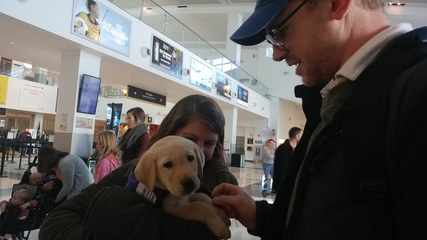 Alexis Belis and Henry Colburn of Los Angeles stop on their way out of HIA to pet a labrador puppy.