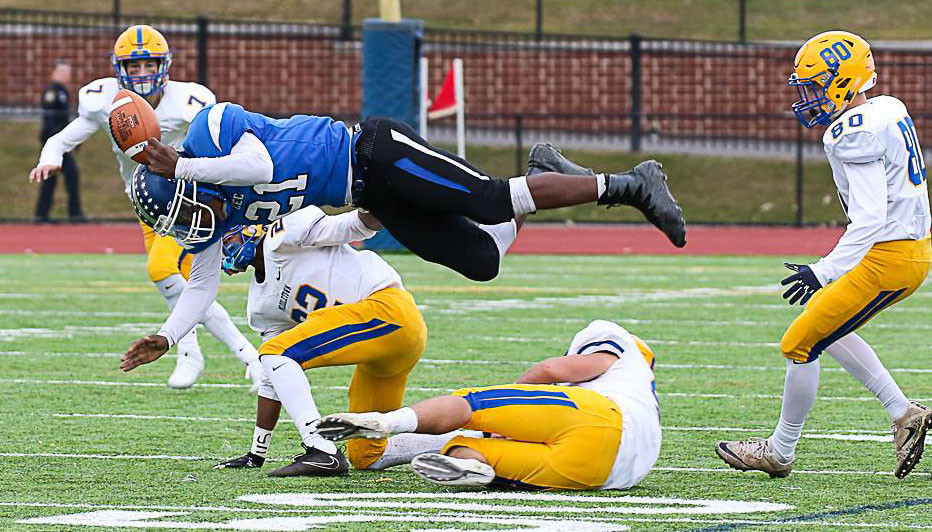 Conwell-Egan ball carrier Dajuan Harris gets vertical.