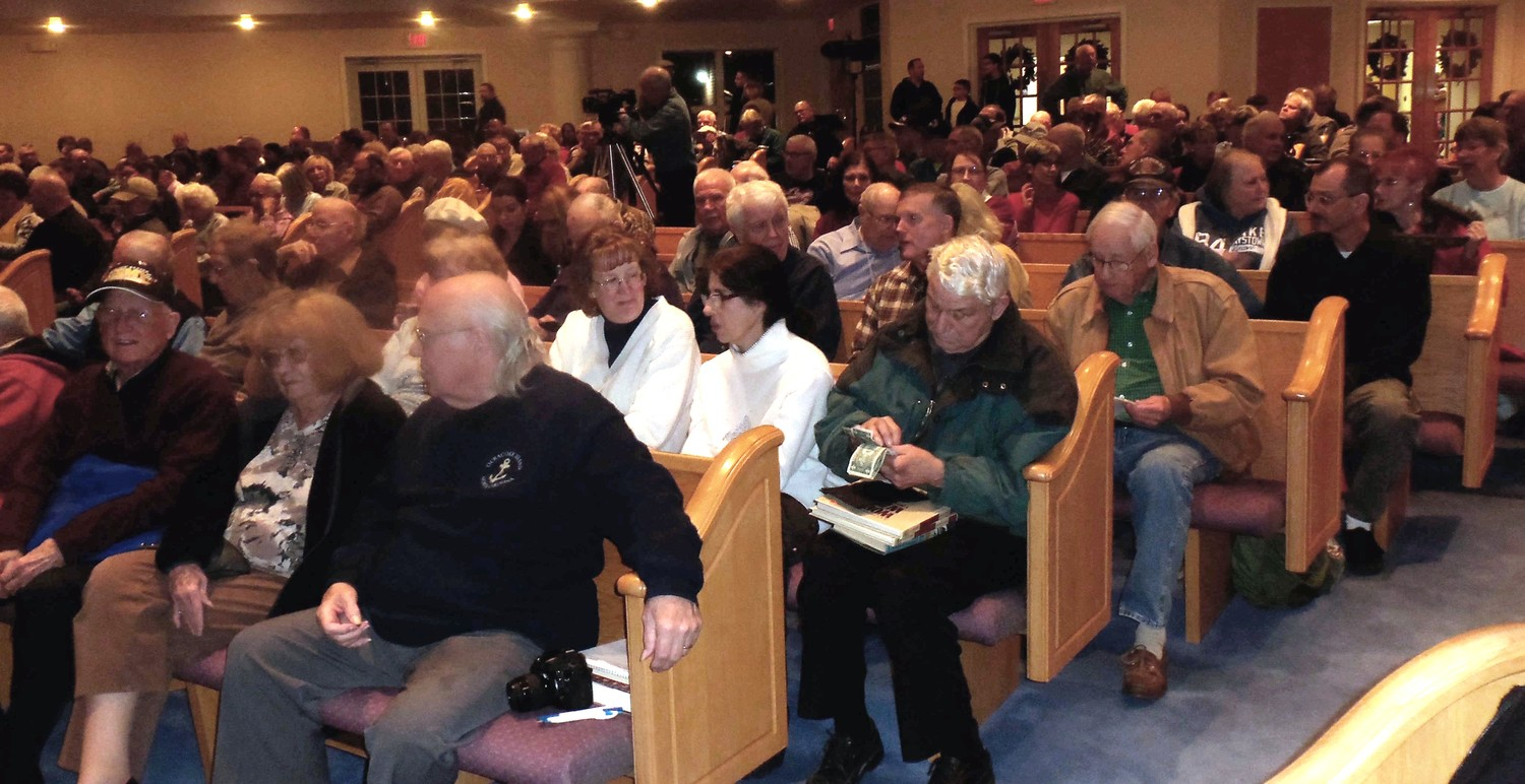 Hundreds crowded into the sanctuary of Grace United Methodist Church in Hummelstown to hear Pearl Harbor survivors speak at the Central Pennsylvania WWII Roundtable on Dec. 7, the 76th anniversary of the attack.
