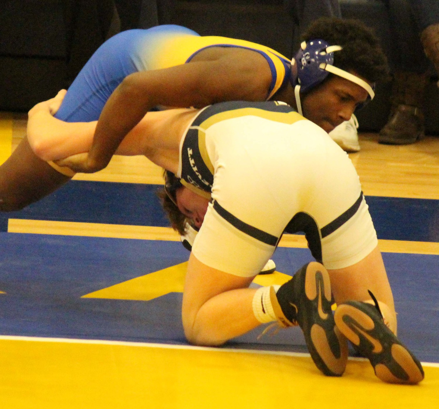 Bishop McDevitt standout Tanner Updegraff was too much for Middletown's Sterling Gray, and secured a fall at 152.