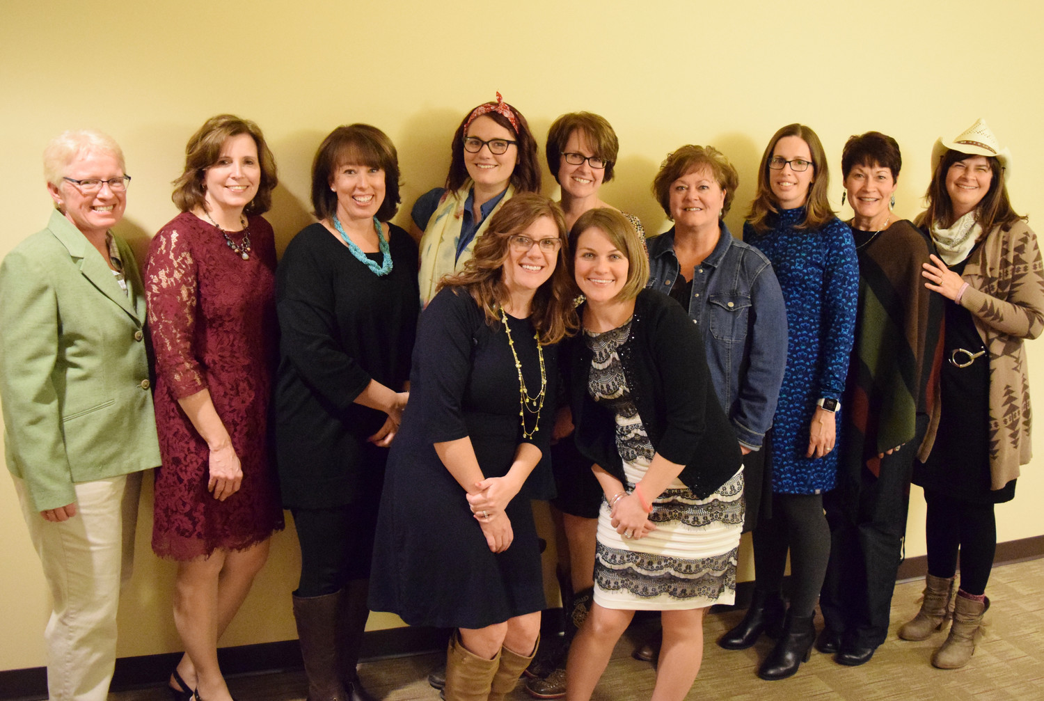 Former Lower Dauphin Superintendent Sherri Smith, left, presented awards from the LD Falcon Foundation on Jan. 27 to, back row, Tina Watkins, Kristen MacKay, Kellie Custer, Shannon Bastian, Natalie McCorkel, Stacy Kreitzer, Kathy Weber and Mary Smith and, front row, Lauren Bruce and Erica Wilkinson.