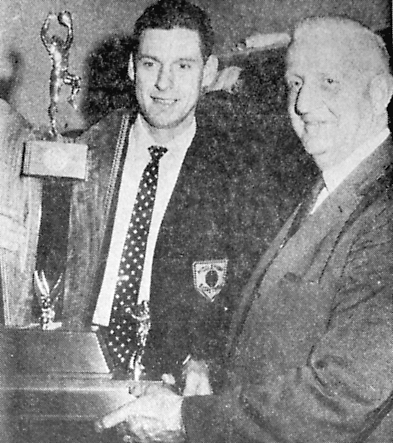 The State Championship Cup was presented to Casper Voithofer, coach of the Blue Raiders, after the team's impressive 78-48 win March 22, 1968, in Pittsburgh by Henry Pharaoh, game manager. Each of the players also received a medal, and local fans gave them a reception in nearby Chatham Center following the game.