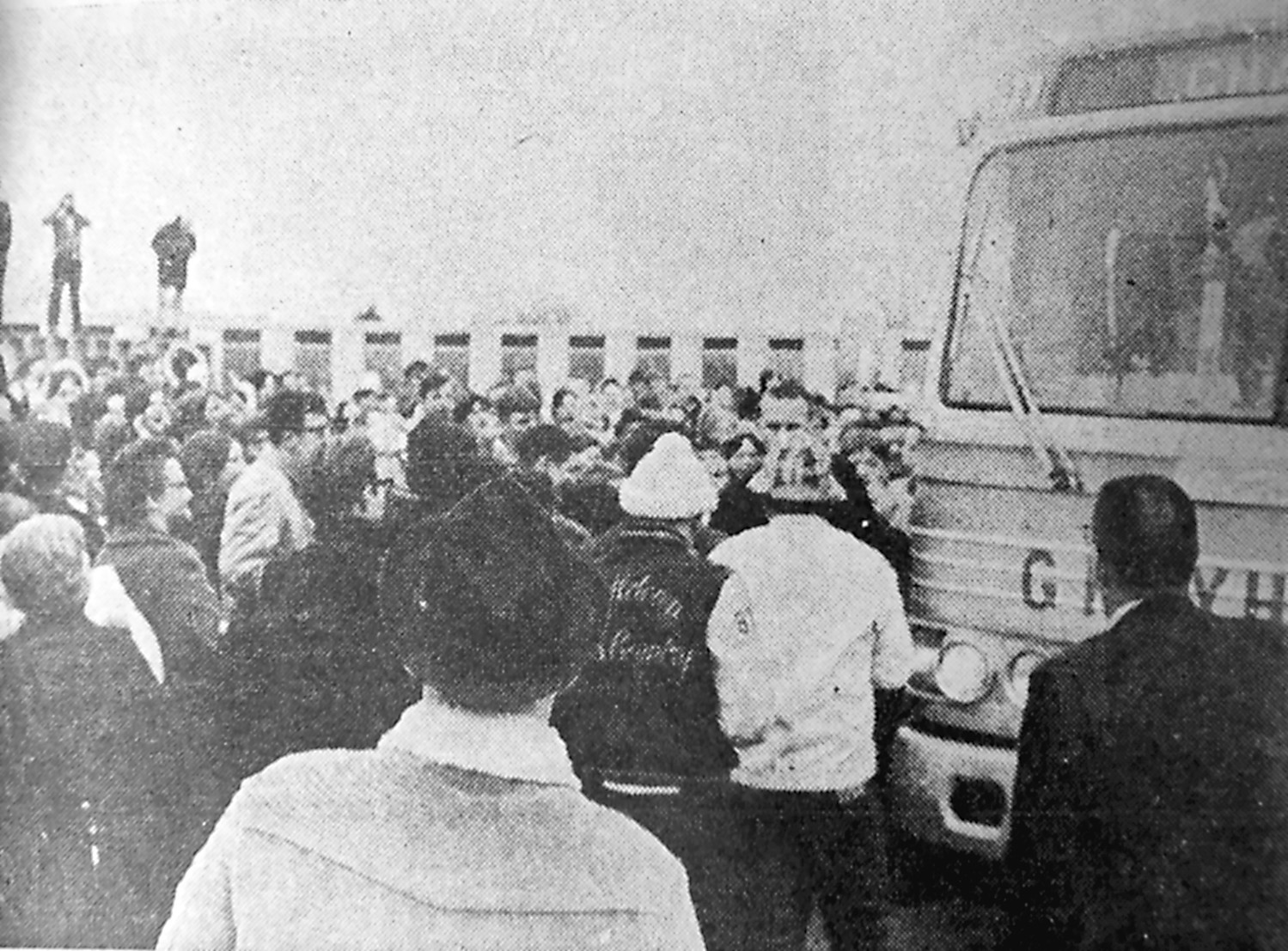 Here comes the bus and the happy players, coaches and school officials. The team arrived home at 3 p.m. Saturday, March 23, 1968, and were met by thousands of local people who turned out to honor the victors. The high school gym never housed such a crowd.