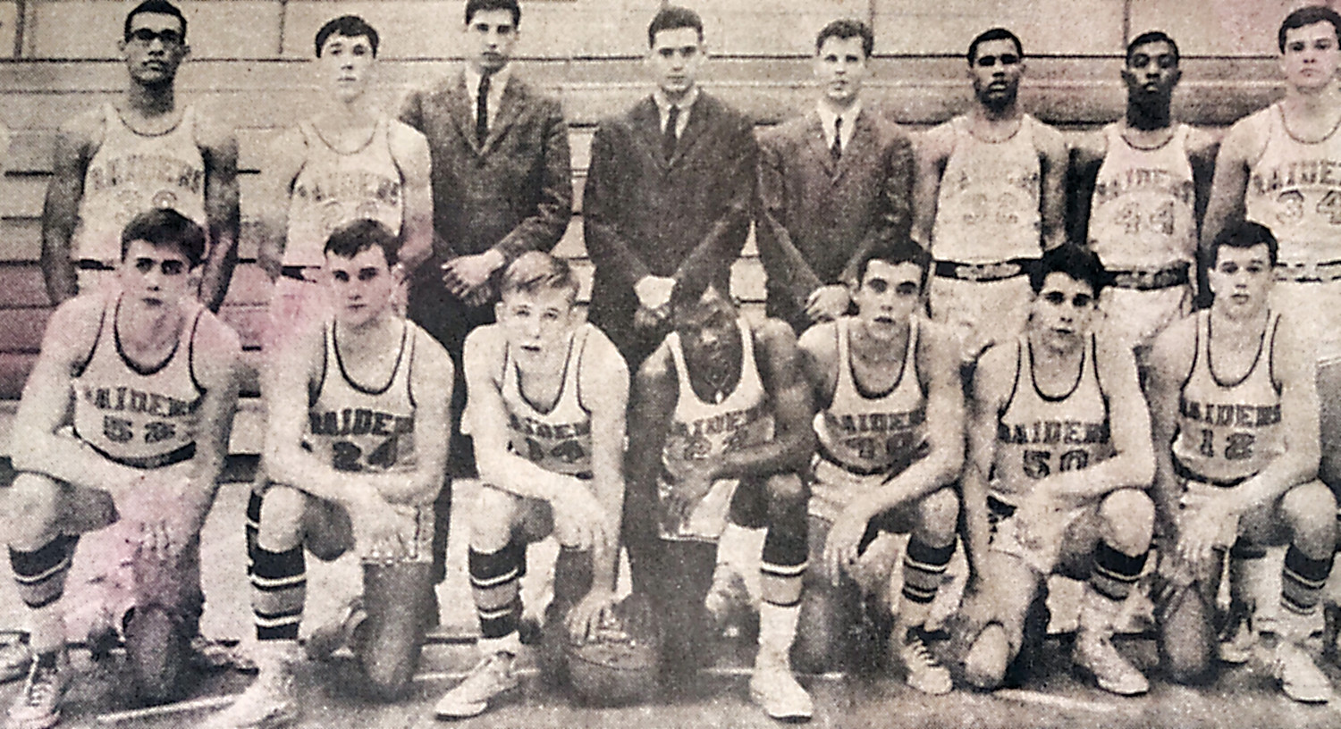 The 1968 Middletown Area High School boys basketball team won the Class B state championship. Front row: Edward Chubb, Richard Barnoski, David Twardzik, Harold Brown, co-captain, Barry Ulsh, Charles Etter and Edward Tennis. Standing, Owen Hannah, Charles Bowen, Kenneth Miller, assistant coach, Casper Voithofer, head coach, William Gross, freshman coach, Clifton Brown, Brett Whittle and John Scudder.