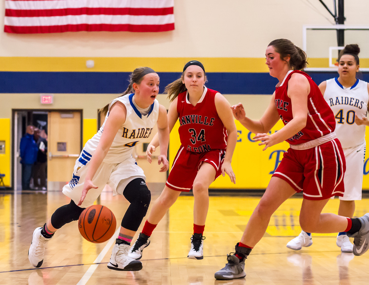 Sophomore Kate Fitzpatrick dribbles past an Annville-Cleona defender on Thursday. She scored 26 points along with 10 rebounds and 5 steals in the 53-47 win.