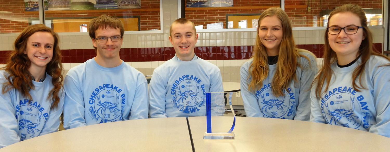 Shelly Yohe, James Rodgers, Owen Coonelly, Emily Scholfield and Kelly Barr recently finished sixth at the annual Chesapeake Bay Bowl.
