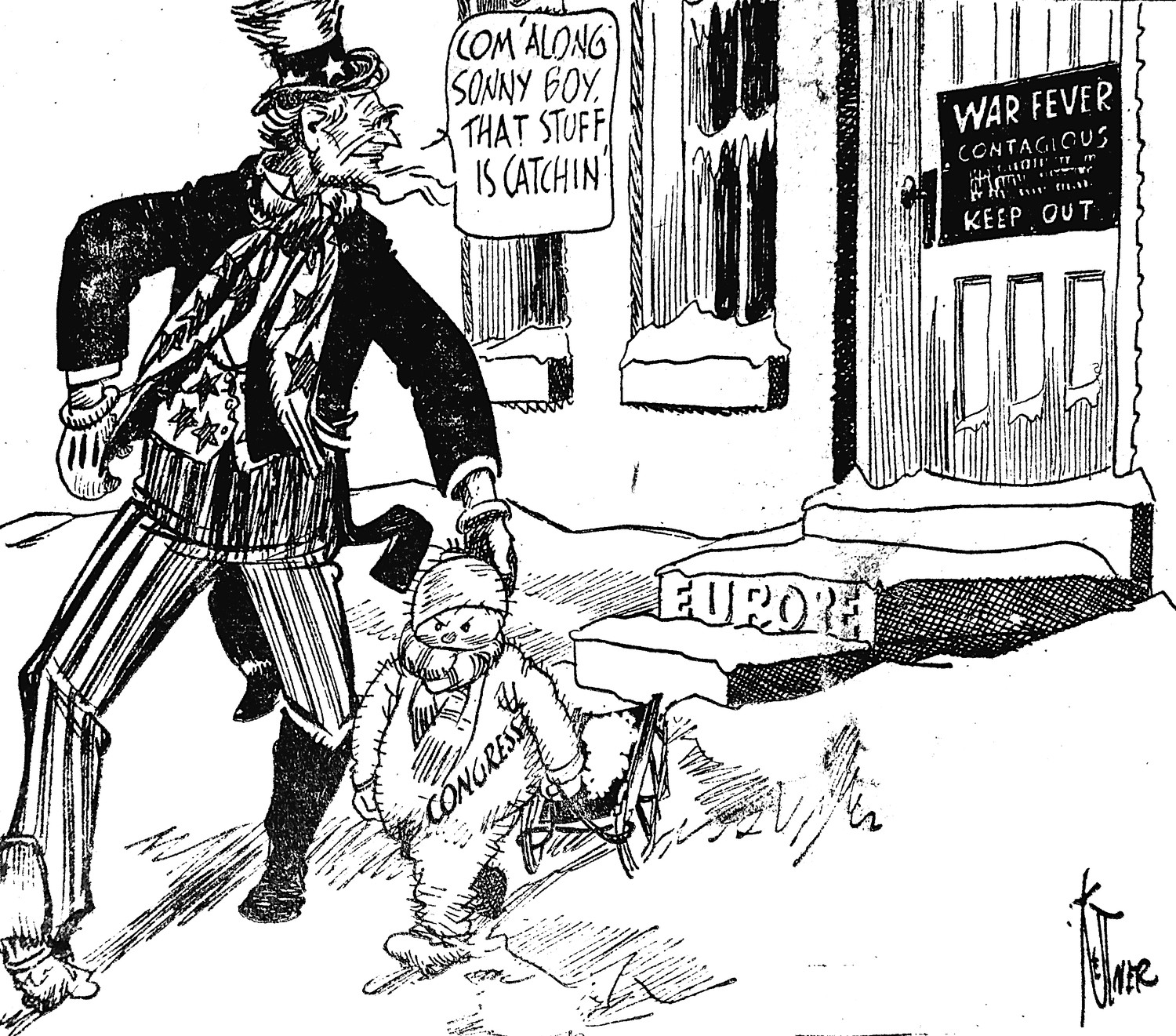 Editor's note: Editorial cartoons were regularly printed on the front page of the Middletown Journal in this era. This one cautions U.S. involvement in World War II in Europe. Remember, Pearl Harbor was almost two years away.