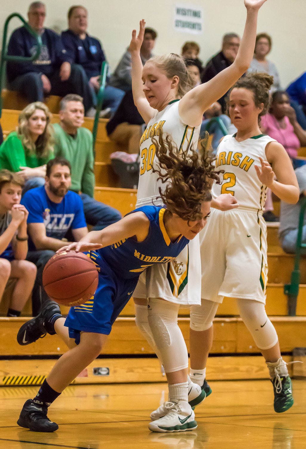 Makaila Nester drives to the hoop Feb. 20 vs. York Catholic in playoff action.