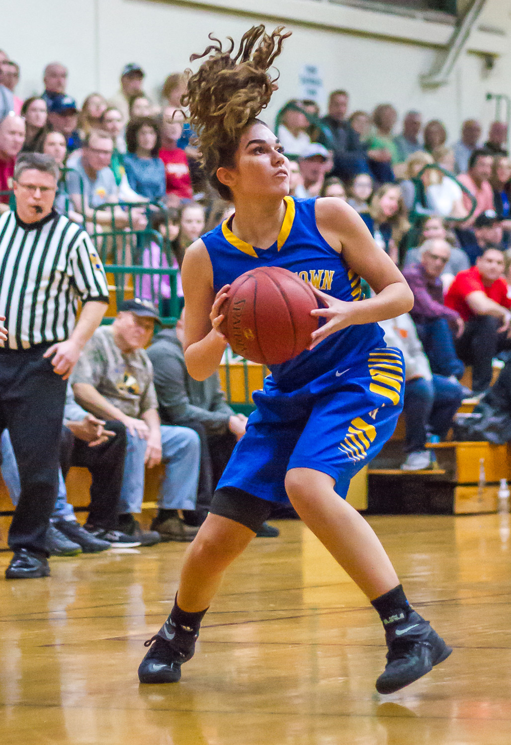 Makaila Nester looks for room to maneuver Feb. 20 vs. York Catholic in playoff action.