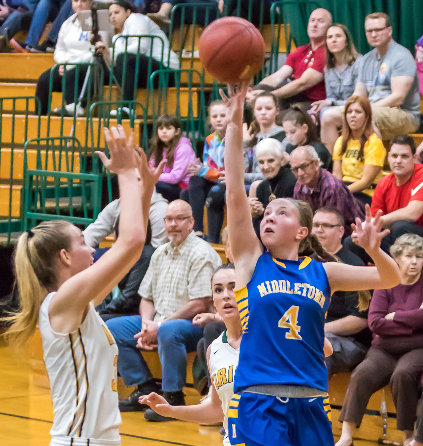 Kate Fitzpatrick shoots Feb. 20 vs. York Catholic in playoff action.