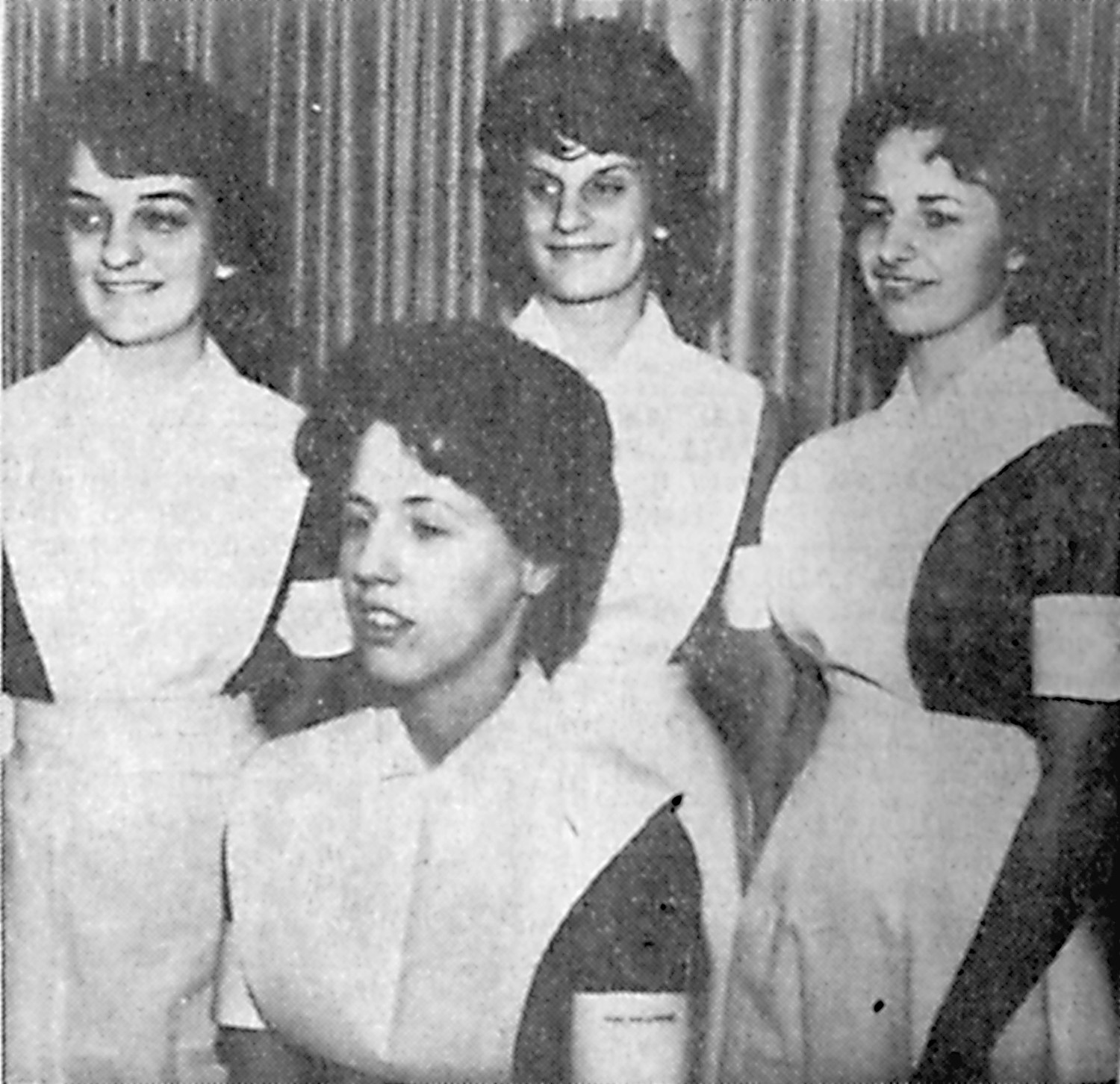"Middletown girls will be ""capped"" in the services of the Harrisburg Hospital Nursing School Friday at the Scottish Rites Temple. The four pictured after completing duties at Brady Hall are members of the 1962 class of Middletown High School. Seated, Sally Ann Gallagher. Standing from left, Sondra Kay Mertz, Mary Belle Bixler and Carol Marie George."