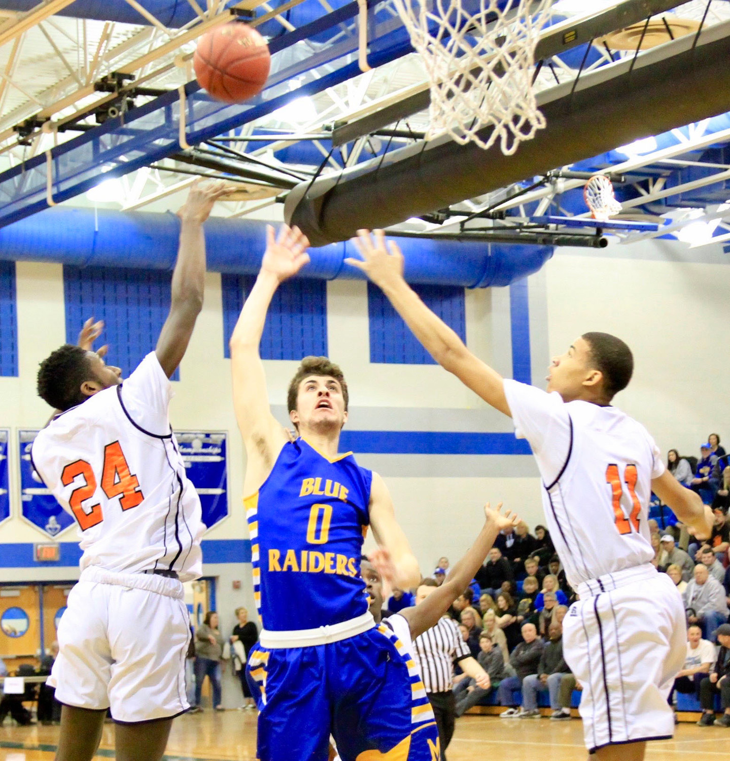Ryan Hughes puts up a shot during Middletown's 47-45 win vs. Overbrook in the second round of the 4A state playoffs Tuesday night at Garden Spot High School.