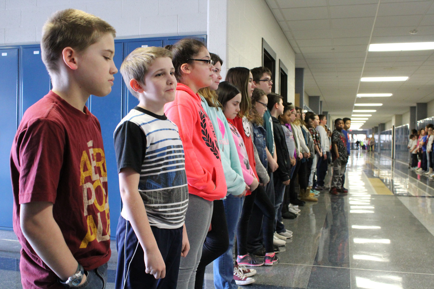 Sixth-grader Kaden Gardner was one of the students who participated in the moment of silence.