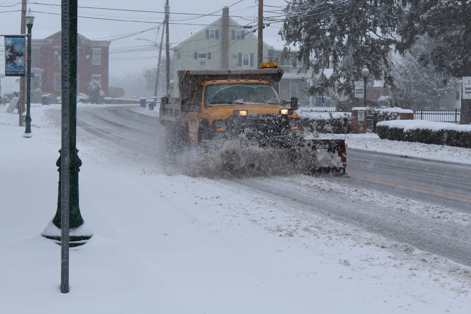 Plows were busy clearing snow Wednesday morning.