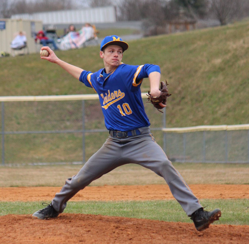Relief pitcher David Alcock fires a pitch vs. West Perry on Friday.
