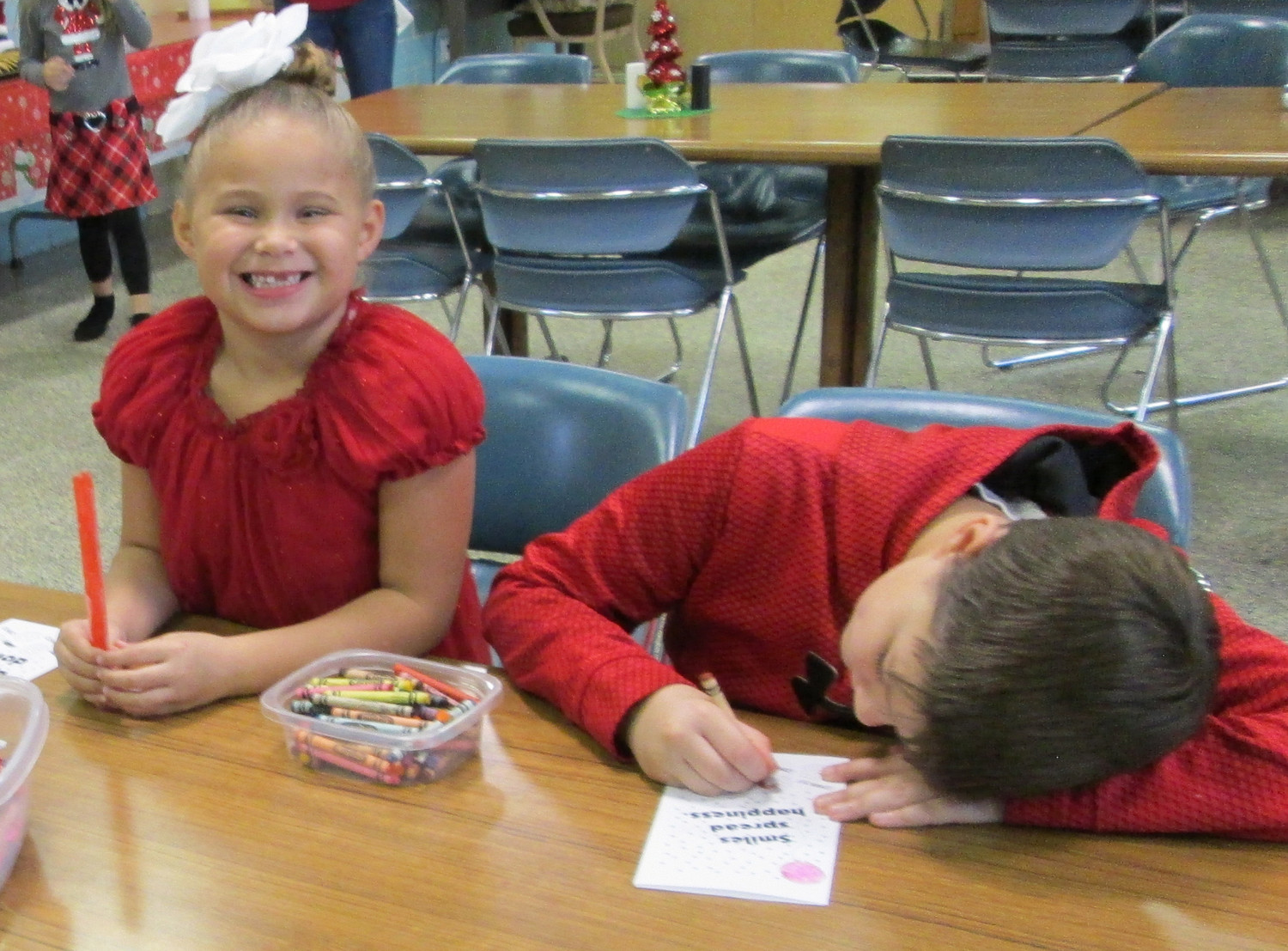 Youngsters work at the Royalton Borough REMA Holiday Party on Dec. 2.