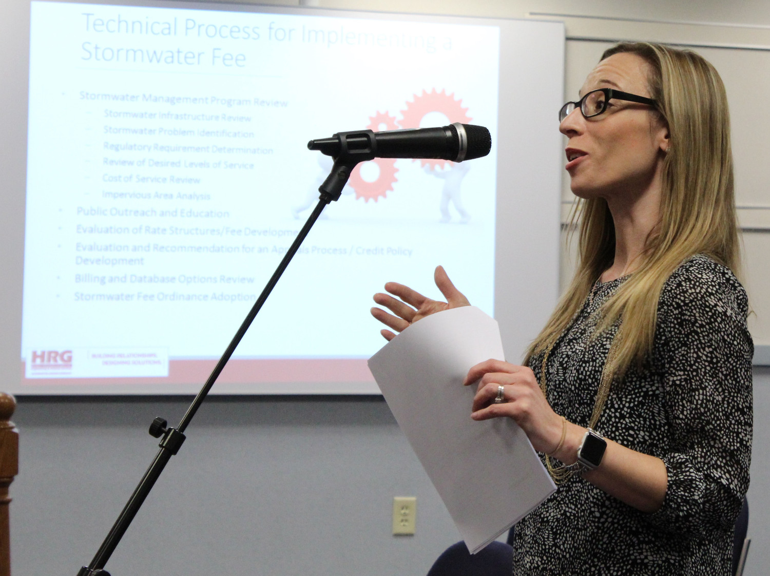 HRG's Adrienne Vicari told the Lower Swatara Board of Commissioners how to implement a stormwater fee during a meeting on April 4.