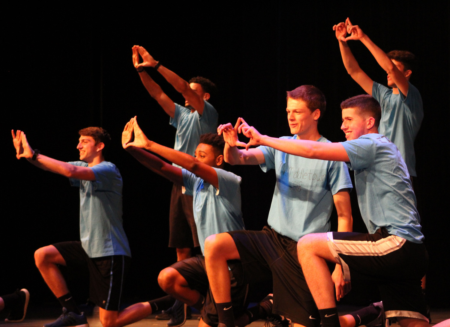 "The Mr. Middletown contestants perform Bruno Mars' ""Uptown Funk"" during the pageant on April 13."