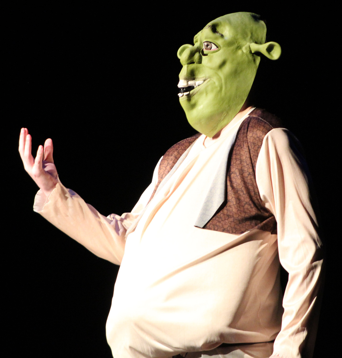 "Zach Souders, dressed as Shrek, sings Leonard Cohen's ""Hallelujah"" during the talent portion of the Mr. Middletown pageant on April 13."