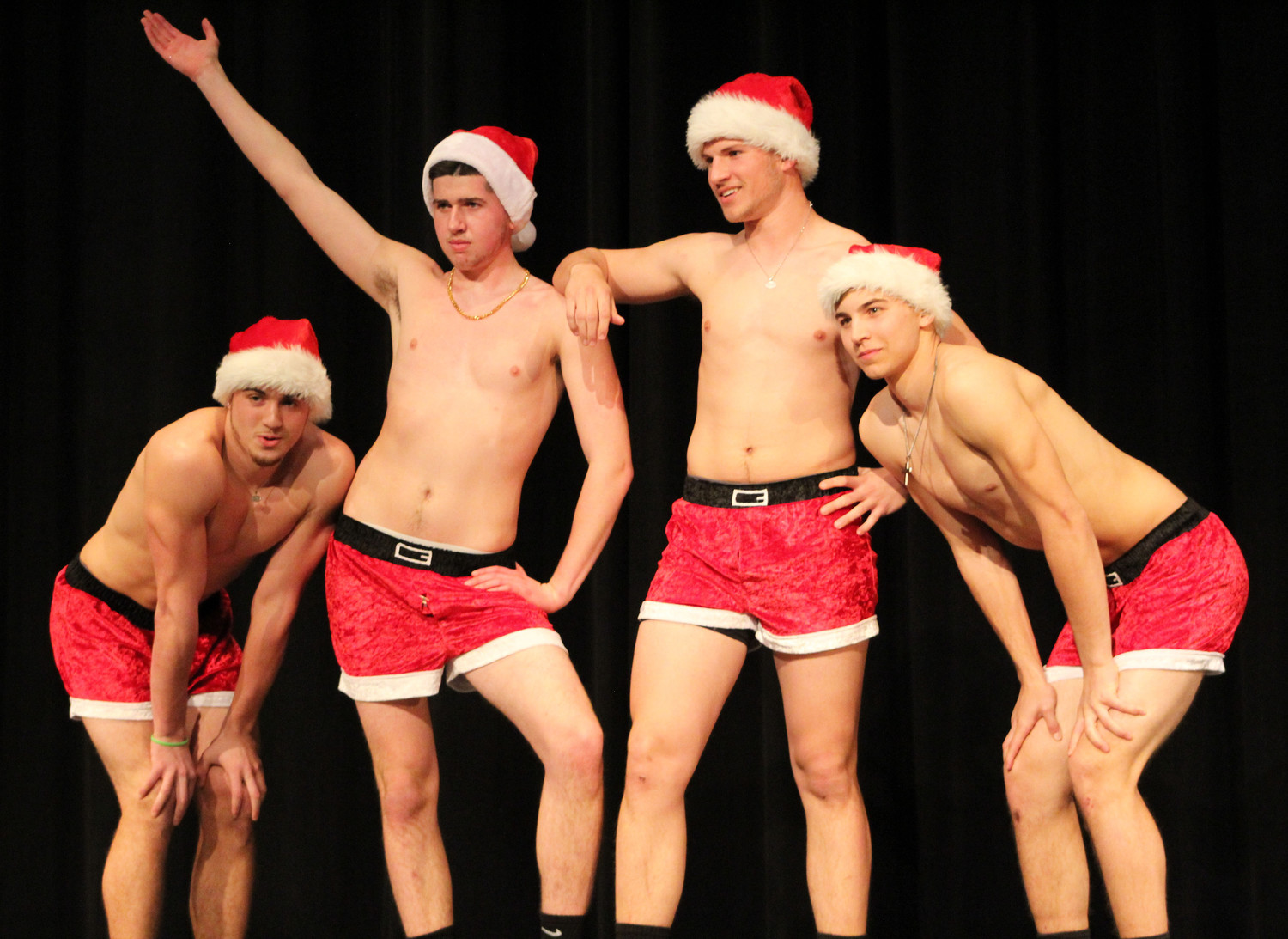 "Tré Leach, Tom Einolf, Matt Schopf and Kyle Truesdale perform ""Jingle Bell Rock"" from the movie ""Mean Girls"" during the Mr. Middletown pageant on April 13."
