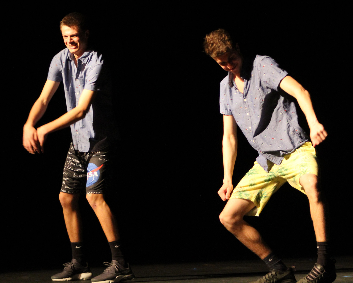 "David Alcock and Ryan Hughes perform the ""Evolution of Dance"" during the talent portion of the Mr. Middletown pageant on April 13."