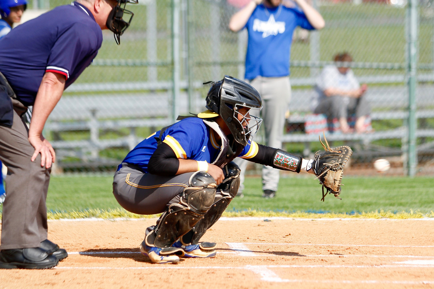Avery Williams catches a warmup pitch from Dominick Barilla during Middletown's win over Steelton-Highspire on May 8.