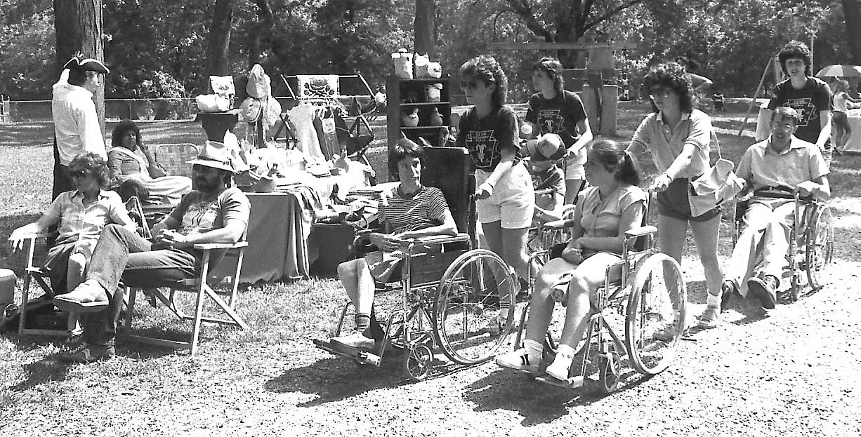 Staffers from Camp Harmony Hall, Lower Swatara Township, treated their Easter Seals friends to a day of fun in the sun at the eighth annual Middletown Colonial Arts and Crafts Fair at Hoffer Park.