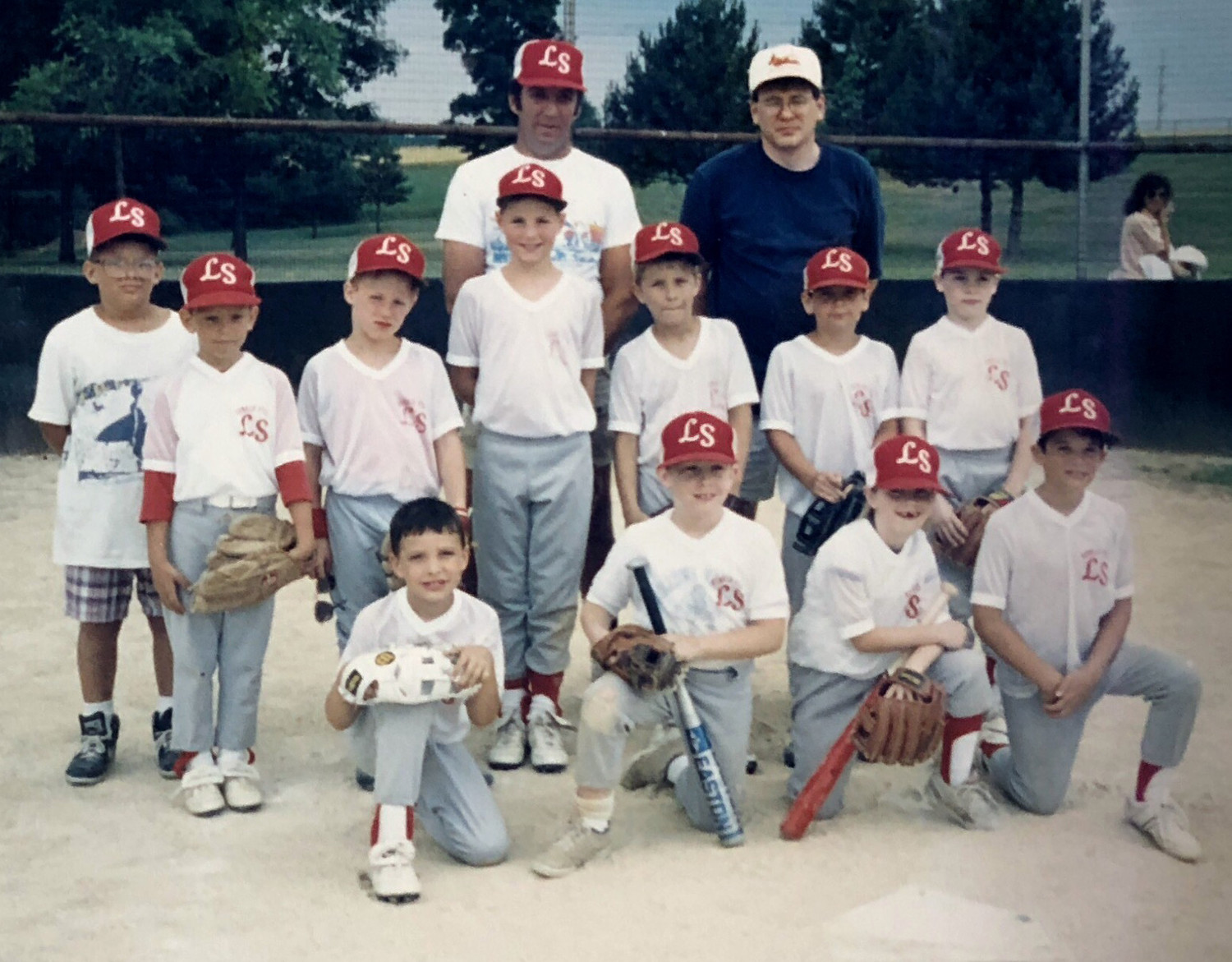 Kunkel PTA recently completed an undefeated season by logging a 17-0 record in the East Dauphin T-Ball League. Pictured in the front row are Andrew Carnes, Joe Koharski, Christine Dahany and Rob Carpen. Second row: Todd Huber (assistant coach), Adrian Huber, Stan Swaintek, Matt Siffrinn, Mike Gratkowski, Marc Frailey and Rich Moore. Back row: Tom Carpen (coach) and Stan Swaintek (manager). Absent from the picture were team members Jessie Vorodi, Zach Hoppes and coaches Dick Huber and Bob Gratkowski.