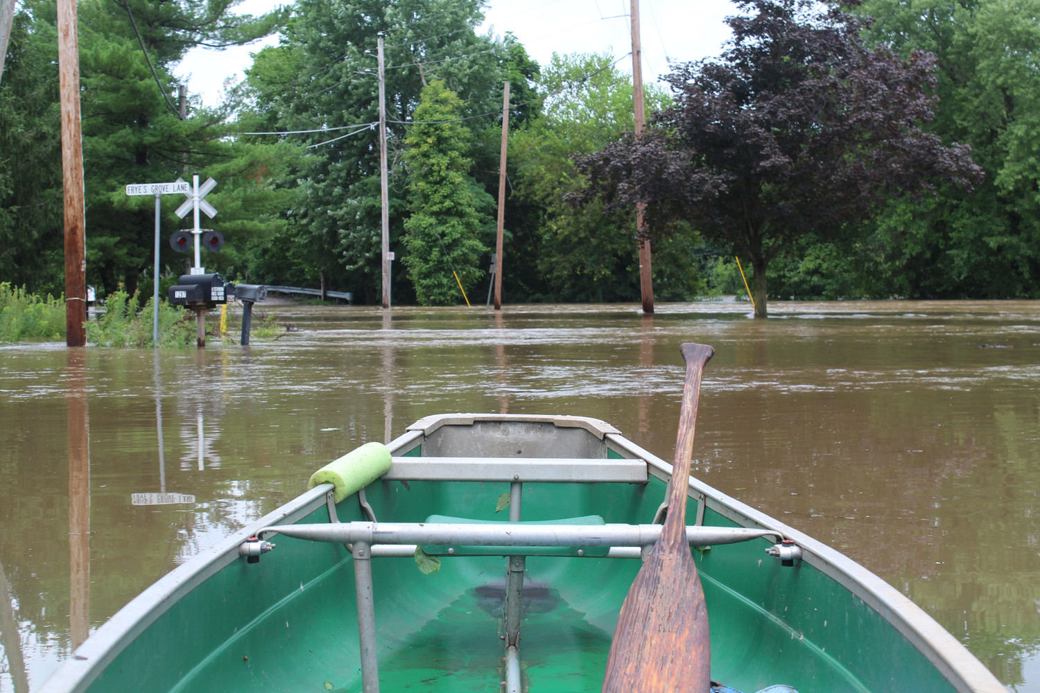 A canoe was tied to a pole near Swatara Park Road on Wednesday.