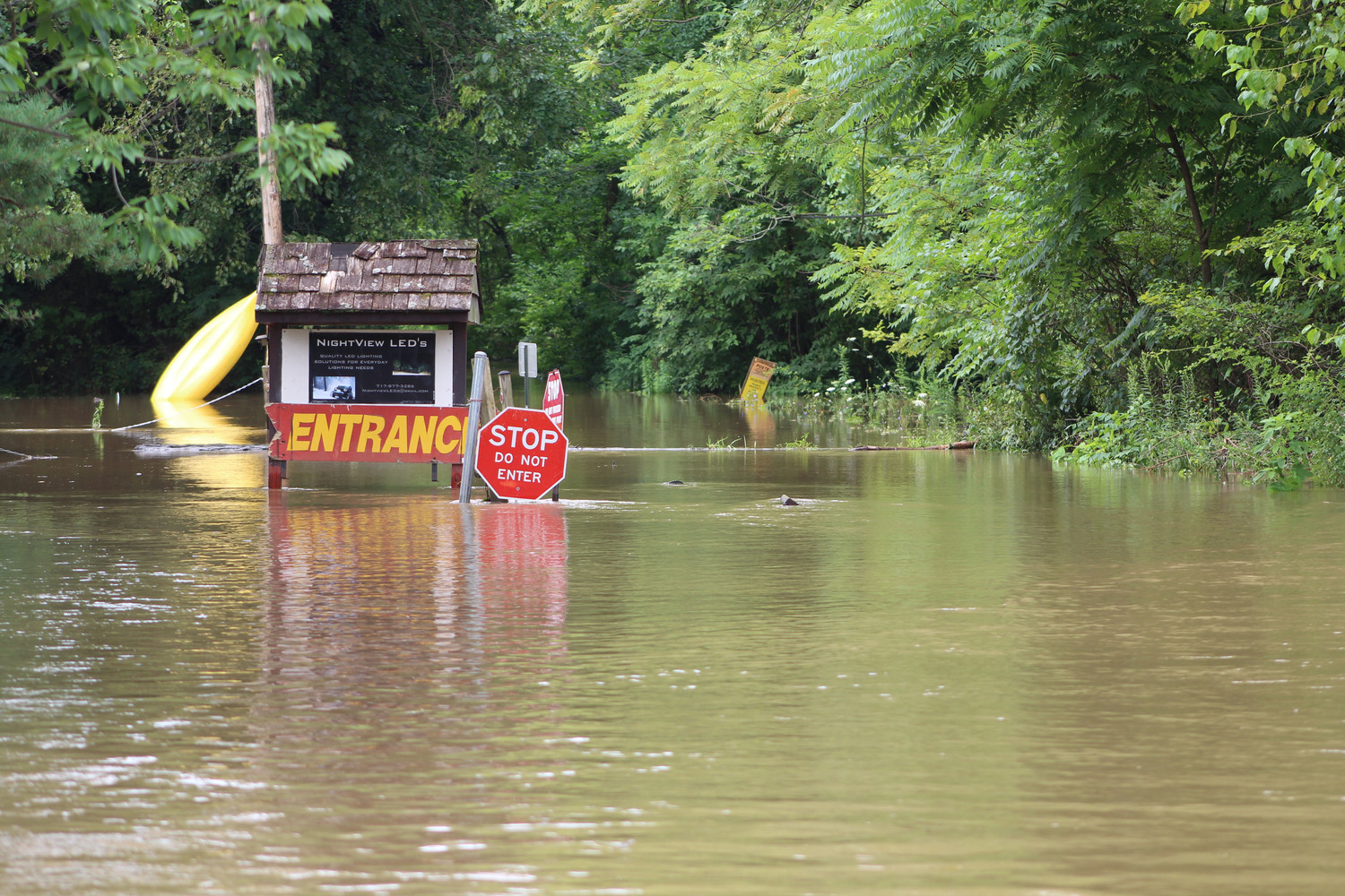 Land around Swatara Park Road was flooded on Wednesday.