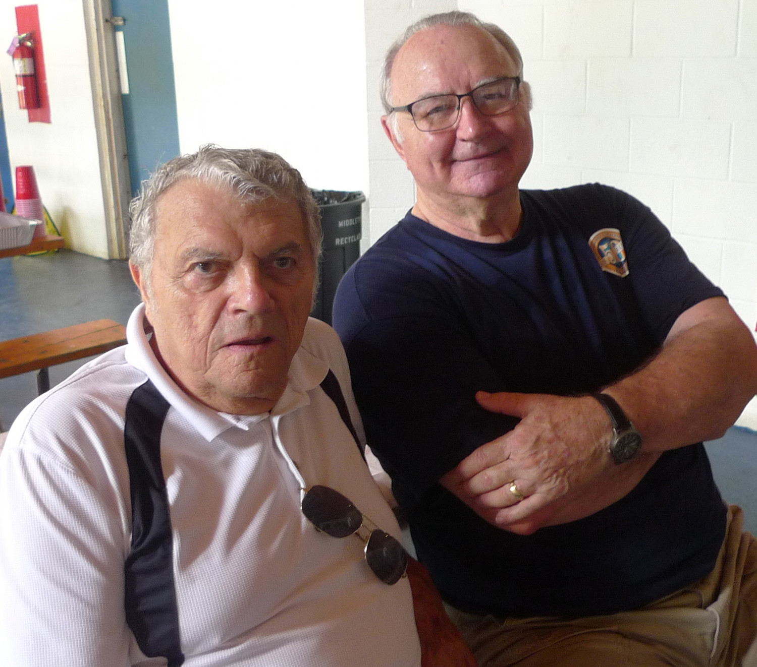Dick Wagner (left) and Ron Couch rekindle memories from when they met many years ago at The Milk Bar.