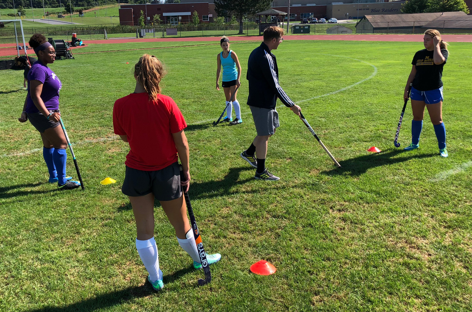 Blue Raider field hockey players take part in a drill Thursday morning.
