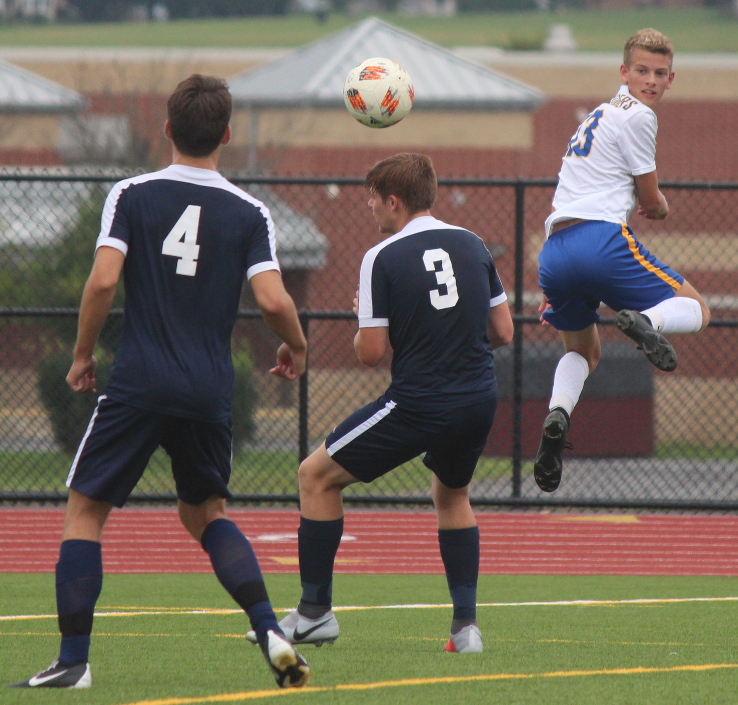 Griffin Meyer goes up for the ball against Wyomissing on Sept. 1.